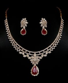 Diamond and ruby necklace set. Vummidi Bangaru Jewellers.