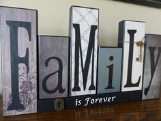 family is forever or is everything block home decor letters with key and decorative lock great