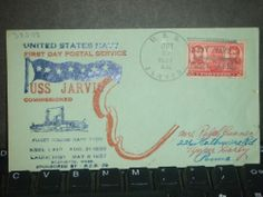 USS JARVIS DD-393 Naval Cover 1937 HUTNICK COMMISSIONED Cachet FDC