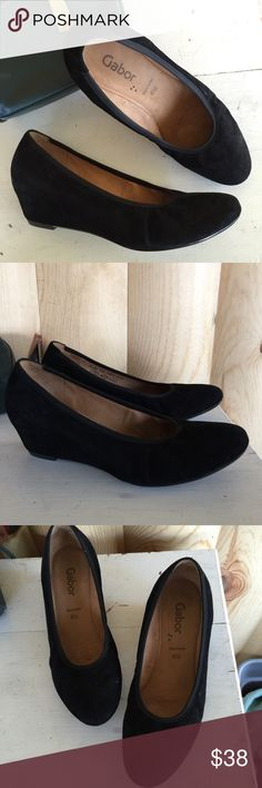 "/Gabor/ black suede German luxury wedge heels Gabor brand black suede wedges. All leather shoe- very comfortable! This brand uses English shoe sizing, actual size is 9-9.5. 9.75"" from toe to heel. Great condition - some scuffs & marks from normal wear . Low wedge heel- 2"" Gabor Shoes Heels"