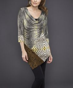 Loving this Brown & Gray Snakeskin Lace-Panel Cowl Neck Tunic on #zulily! #zulilyfinds