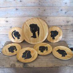 Vintage French Vallauris by Grandjean Jourdan Ceramic Faux bois silhouettes dessert plates set
