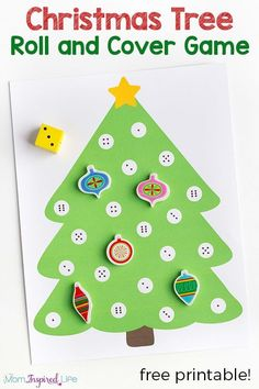 Christmas math activity for preschool. A fun Christmas tree game for young children! via @danielledb