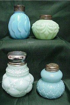 Milk glass salt and pepper shakers