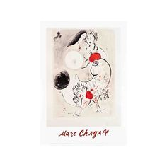 Pair of Lovers with Rooster Wall Art Print (€23) ❤ liked on Polyvore featuring home, home decor, wall art, b-marc chagall, entertainment, football, football players, football players by name, nfl fields & players and sports