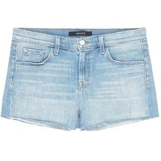 J Brand Low rise cutoff denim shorts ($198) ❤ liked on Polyvore featuring shorts, blue, destroyed jean shorts, low rise jean shorts, cuffed denim shorts, distressed denim shorts and jean shorts
