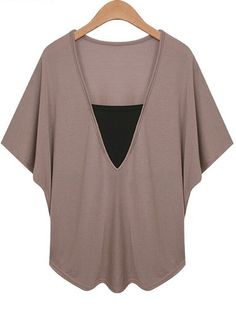 Khaki V Neck Bat Sleeve Plus T-shirt