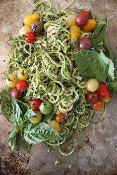 Zucchini Noodles with Basil Almond Pesto | {Heather Christo}