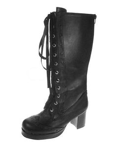 discount Attractive Black 2 3/4'' High Heel PU Womens Lolita Boots