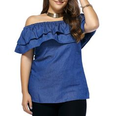 Loose-Fitting Off The Shoulder Denim Blouse Best Fitness Watch, Fitness Watches For Women, Denim Blouse, Sammy Dress, Plus Size Tops, Spring, Blouses For Women, Plus Size Fashion, Stylish