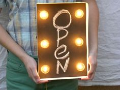 Cool open sign from Retro Marquee. This would be totally awsome for a retail shop or as a display piece for a craft show/farmers market!