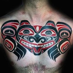 Discover aboriginal grandeur with the top 70 best Haida tattoo designs for men. Explore cool tribal ink ideas from the Pacific coast with red and black ink. Haida Tattoo, Haida Kunst, Haida Art, Devil Tattoo, Raven Tattoo, Aboriginal Tattoo, Aboriginal Art, Filipino Tribal Tattoos, Polynesian Tattoos