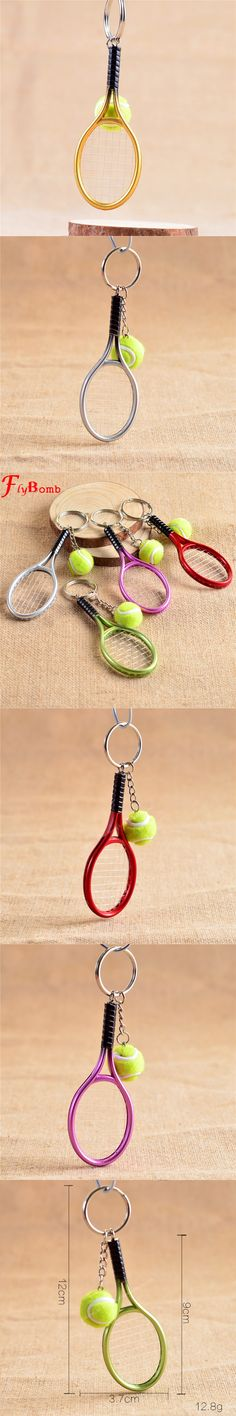 Mini Metal Tennis Racket Handmade Souvenir Cute Tenis Racquet Ball Key-chain Key Sports Chain Car Bike Keyring Novelty Gift L335