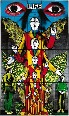 Gilbert and George's colourful piece depicts the artists themselves as angels, amongst male figures, leaves and graphic eyes. Contemporary Art Daily, Contemporary Artists, Modern Art, Gilbert & George, Graphic Eyes, Sir Anthony, Psy Art, Art Moderne, Art Plastique