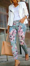 7 For All Mankind Blue Victorian Floral Skinny Ankle Jeans by What Courtney Wore  Via