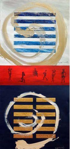 Chng Seok Tin, Heaven, Earth & Man, Acrilico e tecnica mista su tela, Tele grandi 100 x 100 cm, Tele piccole 30 x 100 cm, 2011