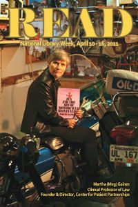 "2011 READ poster featuring Professor Martha 'Meg' Gaines reading ""Zen and the Art of Motorcycle Maintenance"" by Robert Pirsig."