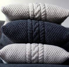 Hand-knitted-gray-pillow-cover-cable $63 on Etsy