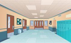 College gym sport lockers changing room interior classroom with equipment and corridor vector cartoon background. Anime Classroom, Classroom Door, Anime Backgrounds Wallpapers, Episode Backgrounds, Anime City, Kitchen Background, Gym Interior, School Hallways, School Lockers