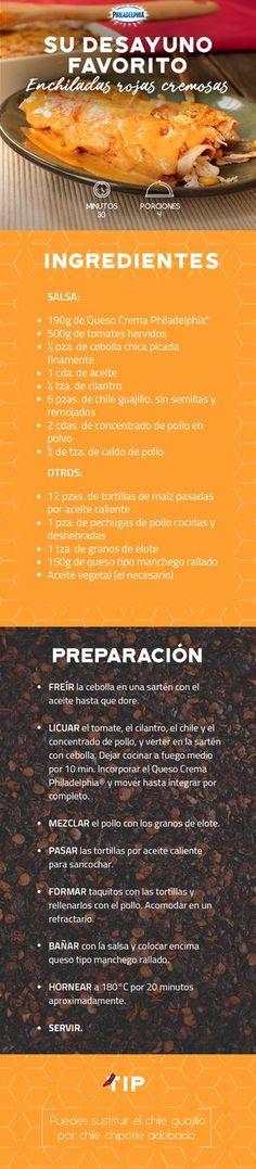 Despierta con el pie derecho con unas deliciosas Enchiladas rojas cremosas. #recetas #receta #quesophiladelphia #philadelphia #crema #quesocrema #queso #comida #cocinar #cocinamexicana #recetasfáciles #enchiladas #crema #salsa #enchiladasrojas #chiles #pollo #carne #desayuno #almuerzo #desayunar
