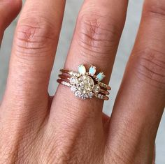 FESTIVAL BRIDES | 15 Engagement Ring Instagram Accounts That You Need to Know About, beautiful opal halo ring stack by Jennie Kwon