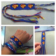 Superman bracelet! 22 strings. 4 colors. It took forever to make, but it turned out really cool. I found directions here... http://friendship-bracelets.net/pattern.php?id=46665
