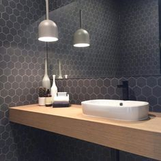 Surprising Hex Tile Bathroom Wall Bathrooms Decorating Hexagon Shower Marble Feature Large Marvelous Tiles Black And White Floor Ideas Astonishing Fireplace Wonderful - Beten Bathroom Toilets, Bathroom Renos, Laundry In Bathroom, Bathroom Inspo, Bathroom Wall, Bathroom Interior, Bathroom Inspiration, Bathroom Ideas, Hexagon Tile Bathroom
