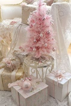 56 Cute Pink Christmas Tree Decoration Ideas You Will Totally Love. If you have a young girl at home or if you yourself feel like a little girl then this year you can express that with a pink Christma. Shabby Chic Christmas, Victorian Christmas, Vintage Christmas, Pink Christmas Tree Decorations, Christmas Colors, Noel Christmas, White Christmas, Christmas Ornaments, Christmas Mantles