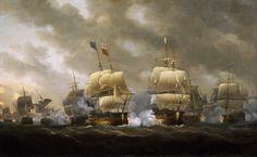 Le Soleil Royal (à droite) affronte le HMS Royal George lors de la bataille des Cardinaux (20 novembre 1759), Nicholas Pocock, 1812. National Maritime Museum.