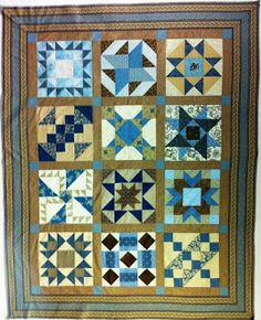 Little Quilts setting for Second Saturday 2012 blue/brown alternate blocks