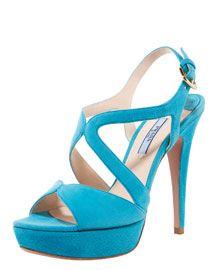 Prada - Suede Multi-Strap Platform Sandal in Blue!