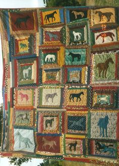 Tipsy's horse quilt.....made at Pixie camp over a few years....lol   was gonna be charged a room fee if it came back not finshed....heehee   still the subject of many a conversation over the years...lol