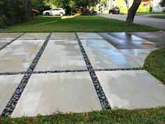 Rock Driveway Ideas Rocks For Driveway Stylish Decoration Rock For Driveway Winning Ideas About River Rock Driveway Ideas Concrete Driveway Pavers, Large Concrete Pavers, Rock Driveway, Modern Driveway, Concrete Pad, Driveway Design, Driveway Ideas, Concrete Blocks, Walkway