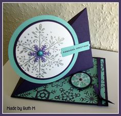 Snowflake Twisted Easel Card  (see my board: Fab Folds for the Twisted Easel Card Tutorial).