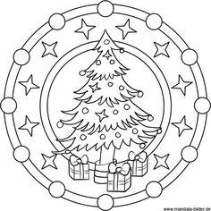 malvorlage oma   Mandala Malvorlage zu Weihnachten - Weihnachtsbaum und Geschenke