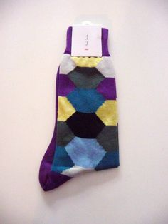 Paul Smith Men's NWT Purple Colorful Hexagon Patterned Socks 1 Sz Neiman Marcus #PaulSmith #Casual