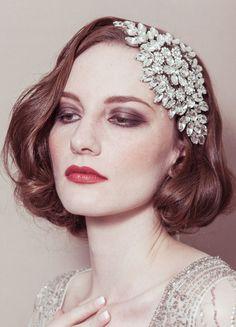 Hattie - rhinestone diamante cap style deco Gatsby bridal wedding headband headpiece