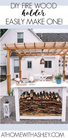 Backyard Fire Pit Reveal and DIY Wood Holder. Ideas for how to make a simple firewood holder. This DIY has a step by step tutorial with free build plans. The outdoor area now has seating areas perfect for bonfires. Outdoor Spaces, Outdoor Living, Firewood Holder, Diy Home Accessories, Diy Home Repair, Bonfires, Seating Areas, House With Porch, Diy House Projects