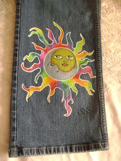 Hand painted jeans. $40.00, via Etsy.