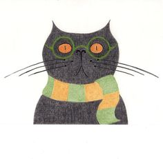 Cat Gift Cards  Funny Black Cat with Scarf by BlackCatStudioArt