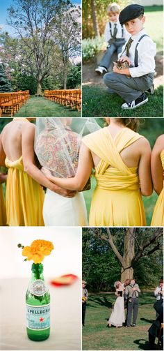 mustard infinity dresses.  wooden chairs.  adorable ring bearer.  YES.