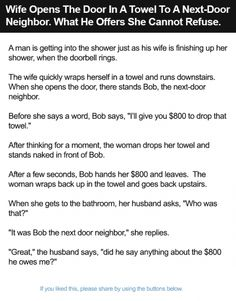 Wife Opens The Door In A Towel To A Next-Door Neighbor. What He Offers She Cannot Refuse.