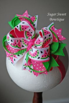 Items similar to Watermelon Layered Boutique Headband - Over the Top Hair Bow - Pagents - Photography Prop on Etsy Kids Hair Bows, Baby Hair Bows, Ribbon Hair Bows, Bow Hair Clips, Girls Bows, Making Hair Bows, Bow Making, Ribbon Sculpture, Over The Top