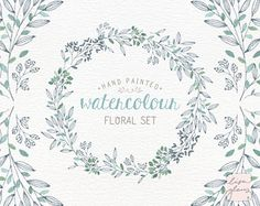Watercolor floral set: handpainted floral clipart / Wedding invitation clip art / Mint and grey floral wreath / commercial use / CM0076i