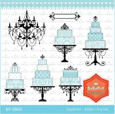Digital Wedding Cake, Chandelier Silhouette Clip Art for Your Wedding Invitation Cards Making.