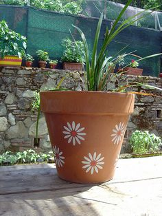 Stencil on clay pot - simple but pretty