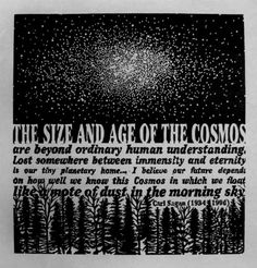 """the size and age of the cosmos are beyond ordinary human understanding, lost somewhere between immensity and eternity is our planetary home. I believe our future depends on how well we know this cosmos in which we float like a moat of dust in the morning sky.""  Carl Sagan"