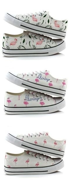 Women's Hand Painted Pink Flamingo Print Casual Sneakers