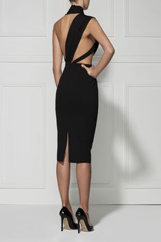 A chic and sexy black dress with a deep V neck and high neck design. Elegant Dresses, Pretty Dresses, Sexy Dresses, Beautiful Dresses, Evening Dresses, Fashion Dresses, Formal Dresses, Midi Dresses, Dress Skirt