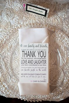 I like this saying for the place mats at the tables. Unique Wedding Reception Ideas for Creative Brides